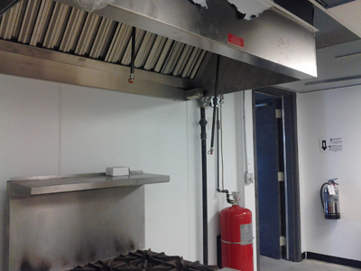 Restaurant hood fire suppression test in Orange County